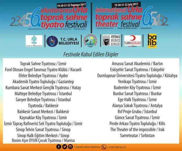 6.Uluslararası Urla Toprak Sahne Tiyatro Festivali Kabul Edilen Ekipler Belli Oldu